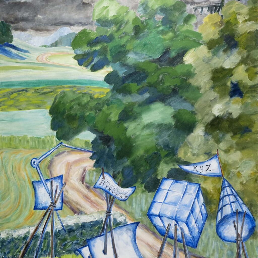 Målning av Anna Sjödahl som föreställer vitblå konstruktioner som står i ett landskap.