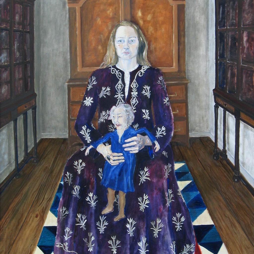 Målning av Lena Cronqvist som föreställer en sittande kvinna klädd i lila klänning hållandes en liten gammal kvinna i blå klänning.